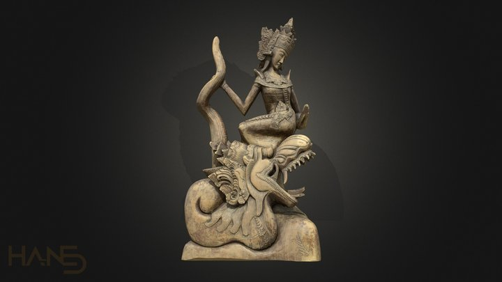 Asian Carving Woman and Dragon 3D Model