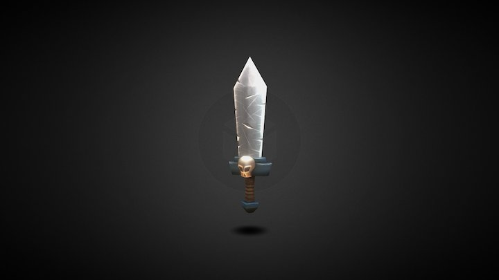 Low Poly Sword with animated shadow 3D Model