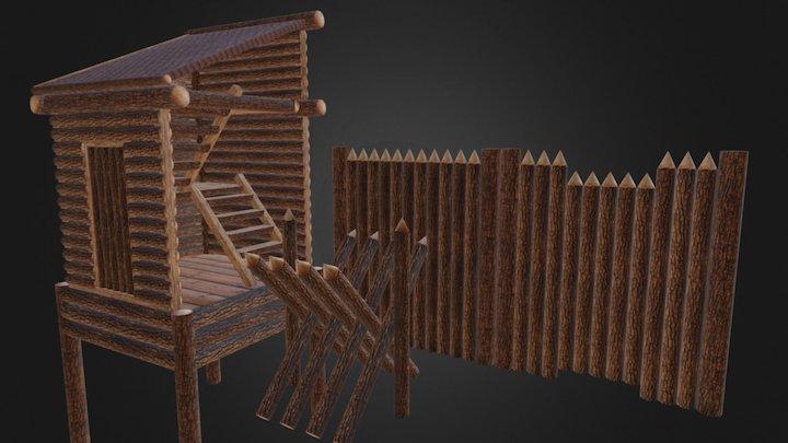 Construction for log houses 3D Model