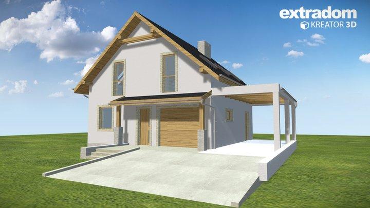Turkawka II z garażem i wiatą [A1] (WRF1835) 3D Model
