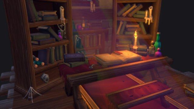 Stylized Fantasy Library. 3D Model