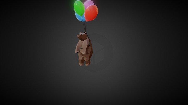 Bear On Balloons 3D Model