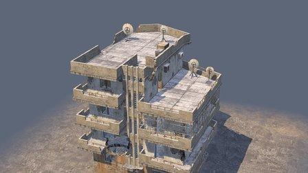 Damaged syrian city building 3D Model