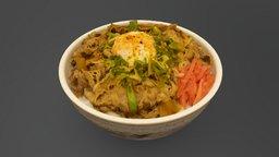 Beef bowl - Leek and Egg 3D Model