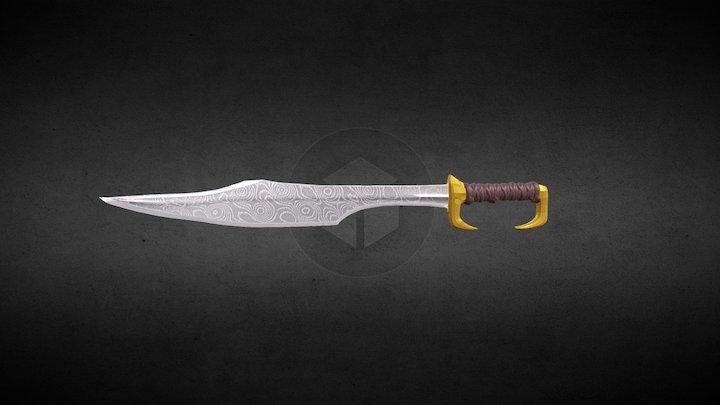 Greek Kopis Sword with Damascus Texture 3D Model