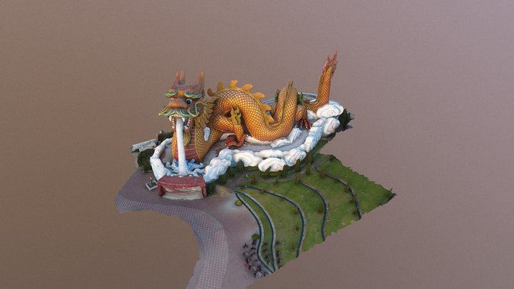 Dragon statue at Supanburi province ,Thailand 3D Model