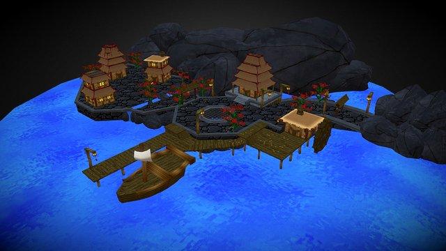 Japanese Moonlight Village 3D Model