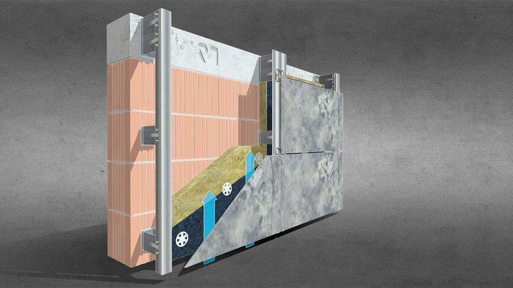 facciata ventilata con gancio a vista 3D Model