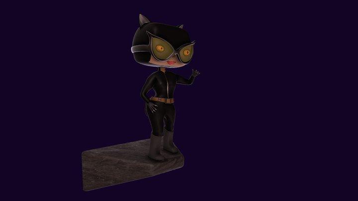Catwoman Funko Pop Style 3D Model