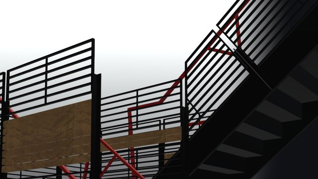 Roof Terrace Central Stair 3D Model