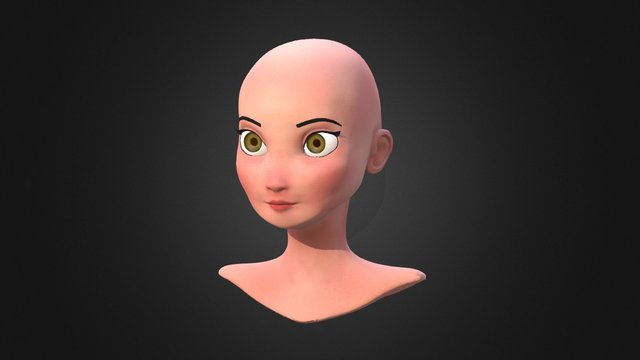 Girl with green eyes 3D Model