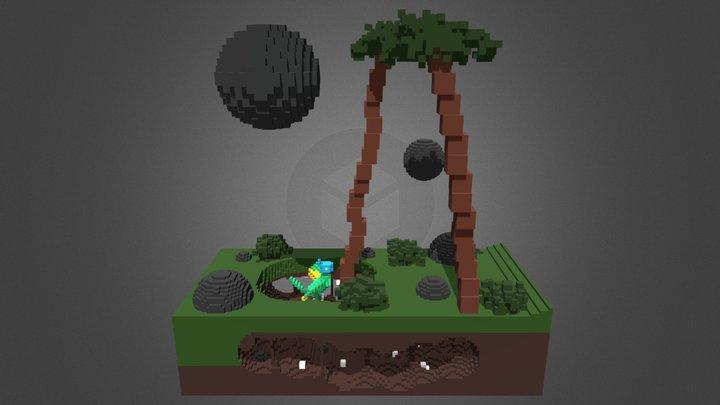 Fan Art | Voxel | Dino Run 2 - Middle Scene 3D Model