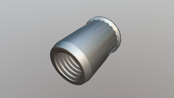 Rivet Nut - Reduced Head, Serrated Open 3D Model