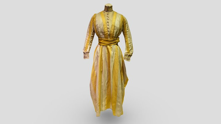 Gold And White Satin Dress, c. 1900 3D Model