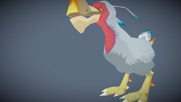 White Stripped Dodo 3D Model