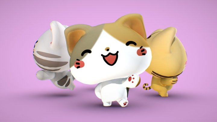 Cats - Rigged and Posed 3D Model