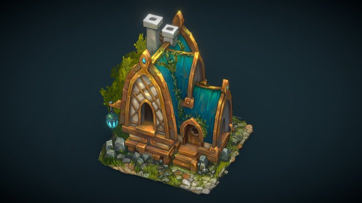 Golden house - Handpainted 3D Model