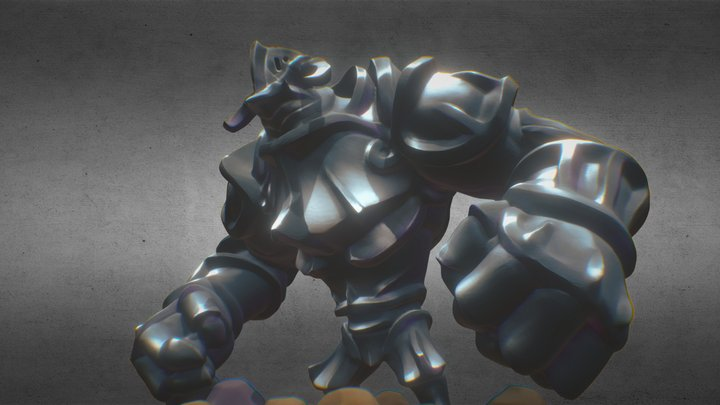 A stone statue of a knight wanders 3D Model
