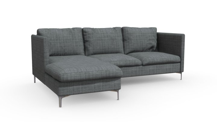 Gray L-Shaped Couch 3D Model
