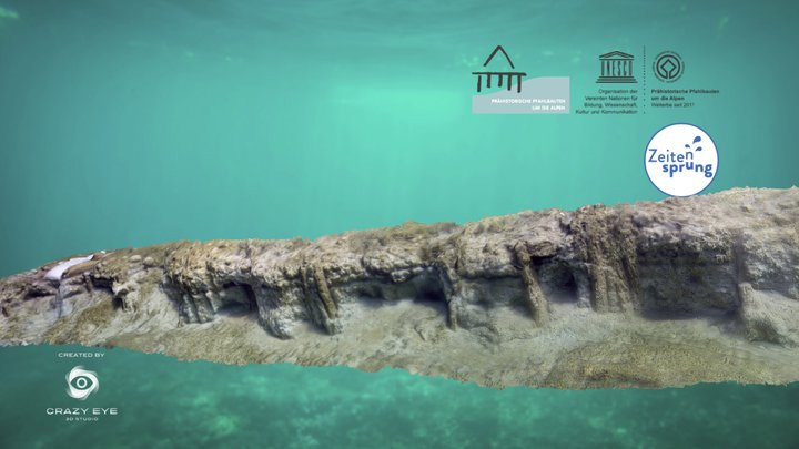 Underwater scene: neolithic pile dwellings 3D Model