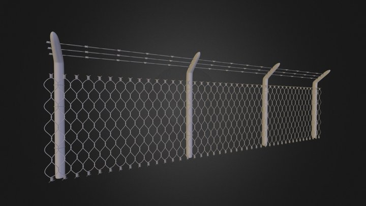 Barbed-wire Fence 3D Model