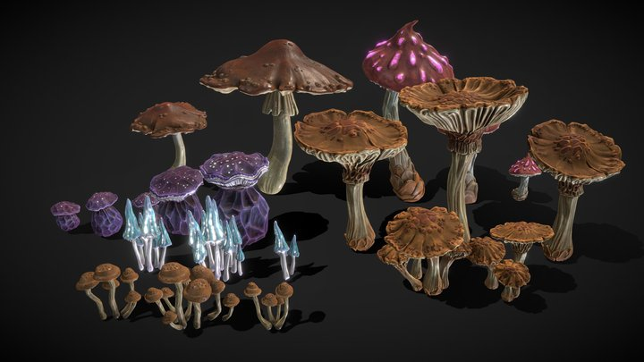 Stylized Fantasy Shrooms 3D Model