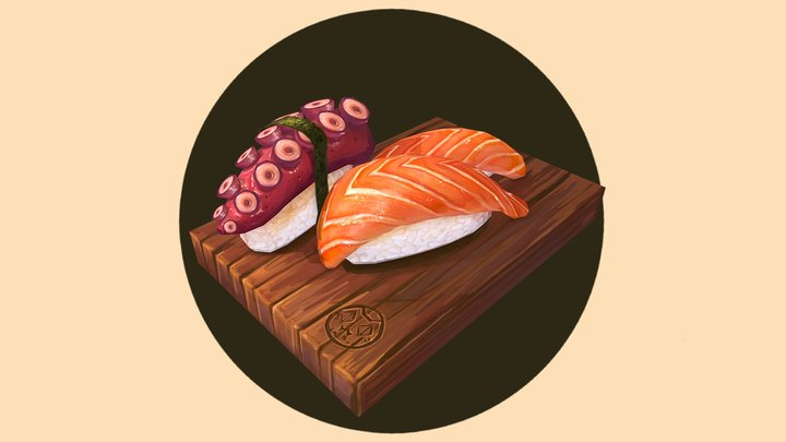 Handpainted Nigiri Sushi Combo 3D Model