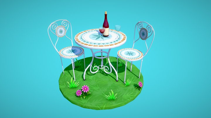 Stylized Outdoor Bistro Table 3D Model