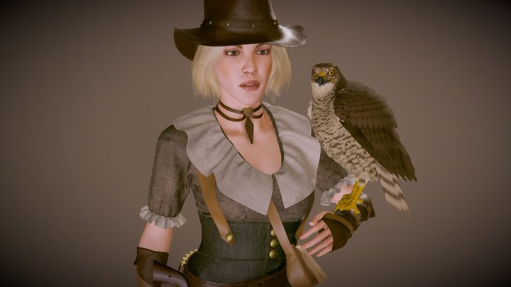 Falconry Girl 3D Model