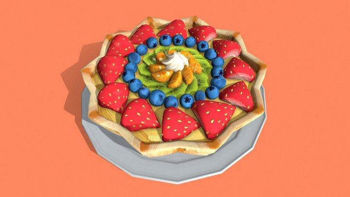 Hand Painted Fruit Tart 3D Model