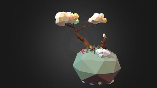 low poly tree island 3D Model