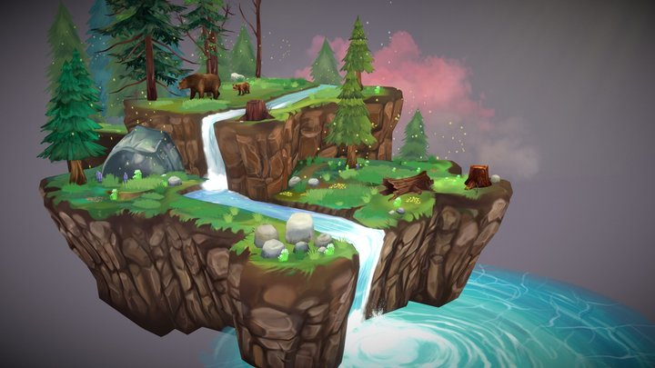 forest and waterfal 3D Model