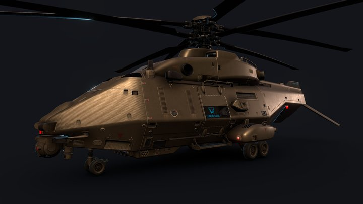 Heavy attack drone helicopter 3D Model