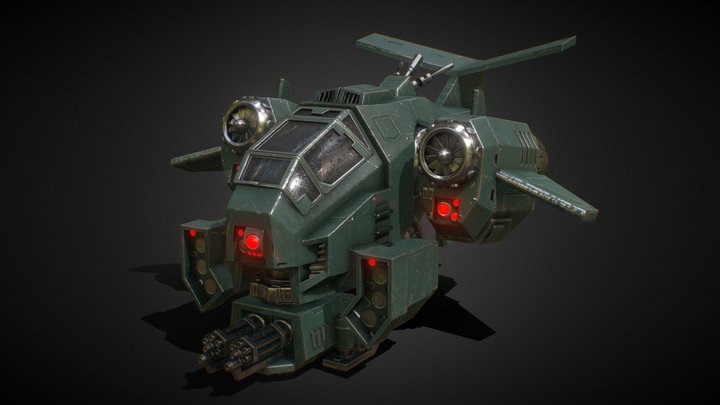 Warhammer 40k - Space Marine Stormtalon Gunship 3D Model