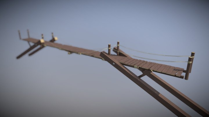 Fantasy Wooden Bridge 3D Model