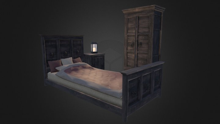 Wooden Bedroom Furniture 3D Model
