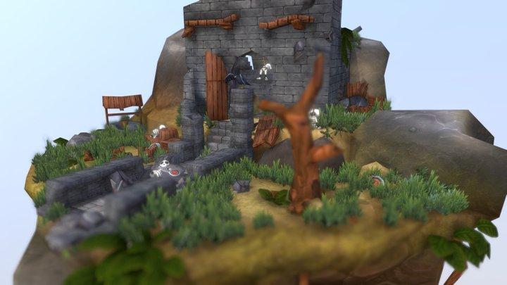 Fantasy Castle Ruin 3D Model