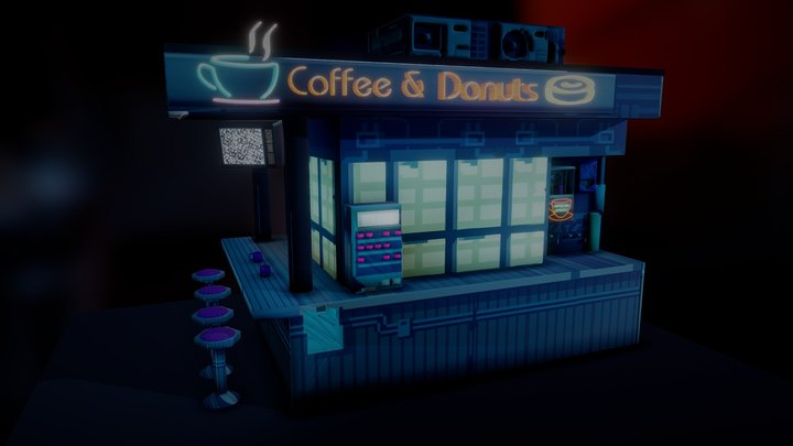 Automated All Night Coffee Stand 3D Model
