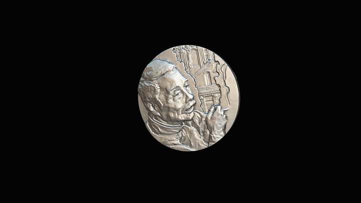 Commemorative Coin with Thunk3d scanner 3D Model