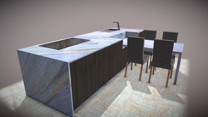 Bancada Cozinha Simples 3D Model
