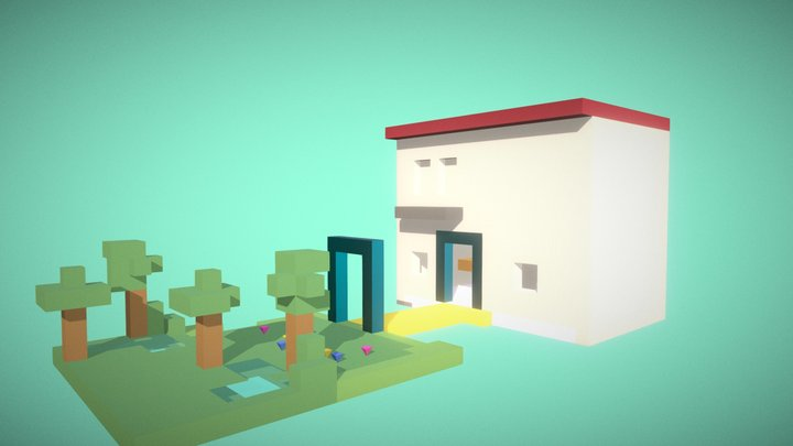 Voxel House and Garden 3D Model