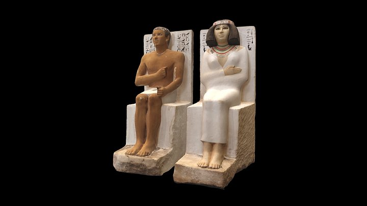 Painted Limestone Statues of Rahotep and Nofret 3D Model
