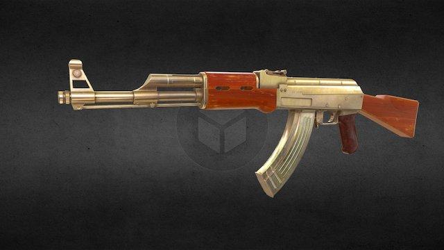 Low Poly AK-47 (Gold) 3D Model