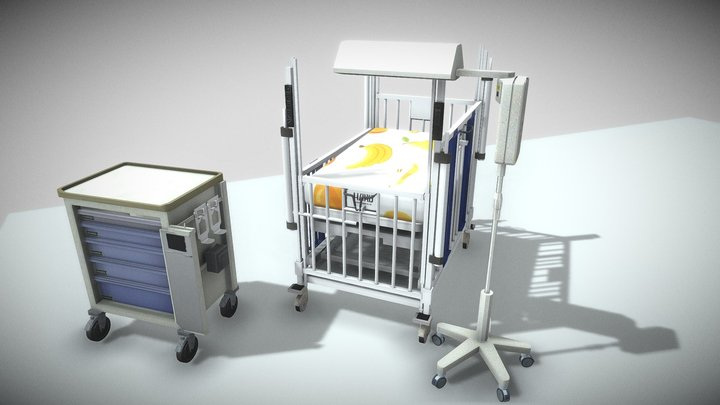 pediatric intensive care unit crib bed Low-poly 3D Model