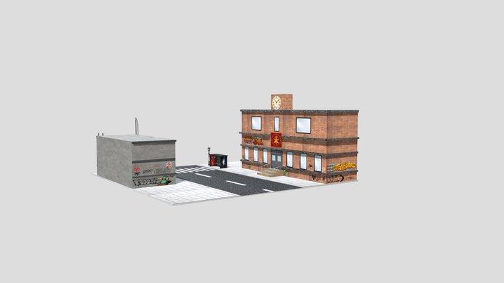 Urban Scene School Graffiti 3D Model