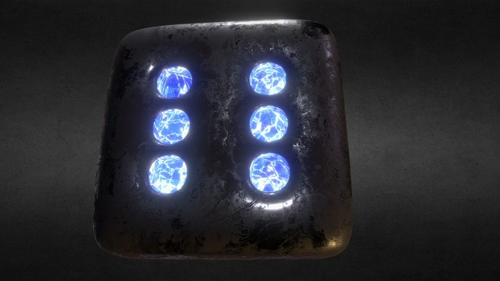 FREE HQ  PBR GAME MODEL :METALLIC +SAPPHIRE DICE 3D Model