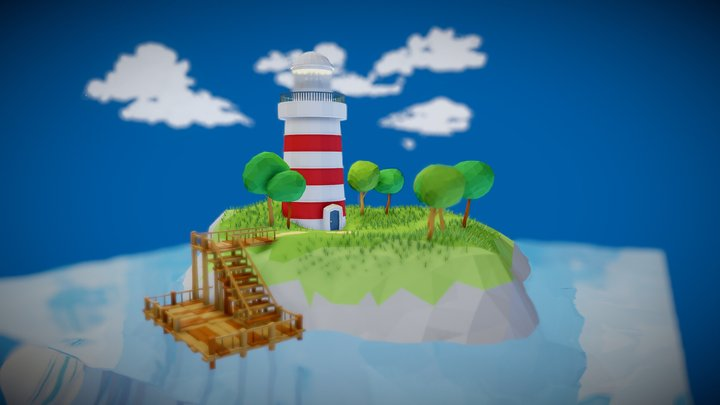 Low Poly Lighthouse Island 3D Model