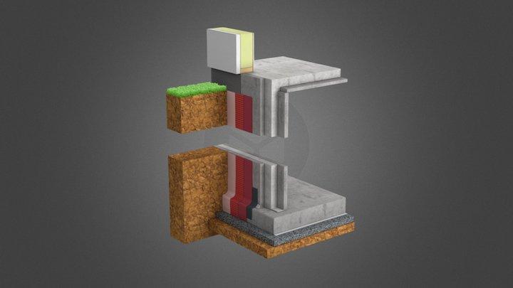 Glatthaar Dreischeibenwand 3D Model