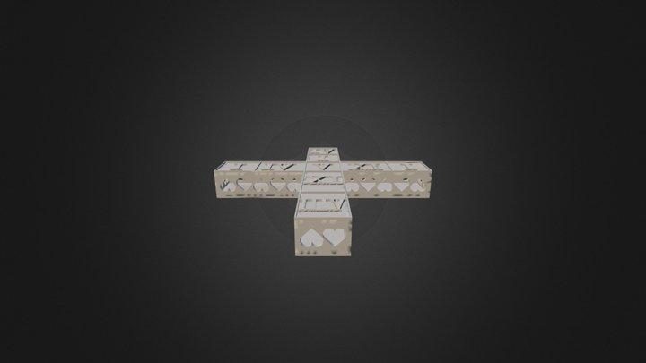 Cross Latin Numericals-Hearts 3D Model