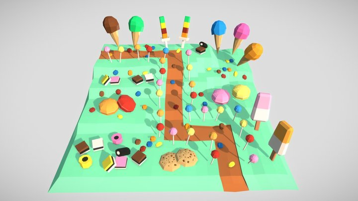 Low Poly Style - Sweet Island 3D Model